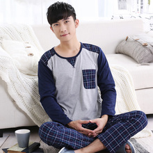 Free Shipping Male sleepwear autumn cotton pullover  lounge spring and autumn men's sleepwear summer long-sleeve set L-3XL(China (Mainland))