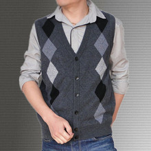 Free shipping Men's british style cashmere wool cardigan vest fashion knitted sweater loose waistcoat(China (Mainland))