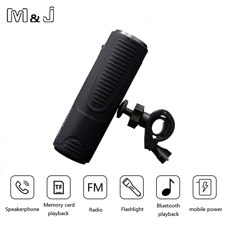 M&J P3 Wireless Bluetooth Speaker Outdoor Bicycle Portable Subwoofer Bass Speakers 2400mAh Power Bank + LED light + Bike Mount