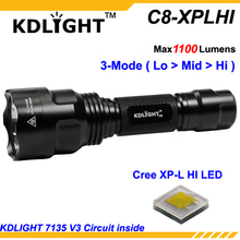 Buy KDLIGHT C8-XPLHI Cree XP-L HI V3 6500K White 1100 Lumens 3-Mode LED Flashlight Black  (1x18650 ) for $20.49 in AliExpress store