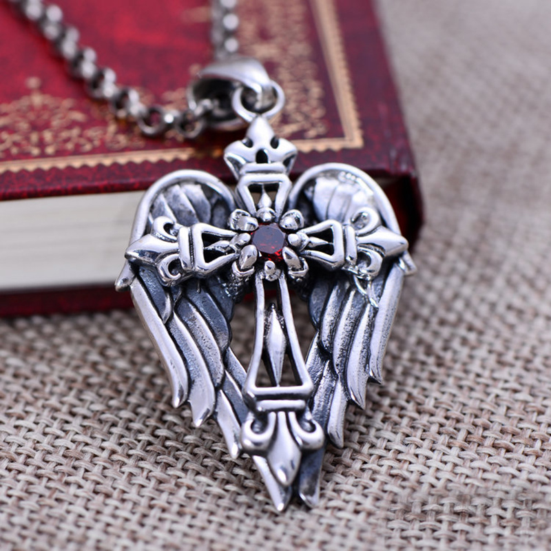 925 sterling silver jewelry retro Thai pendant inlaid garnets micro angel wings cross necklace Men - Auspicious Trade Co., Ltd. store