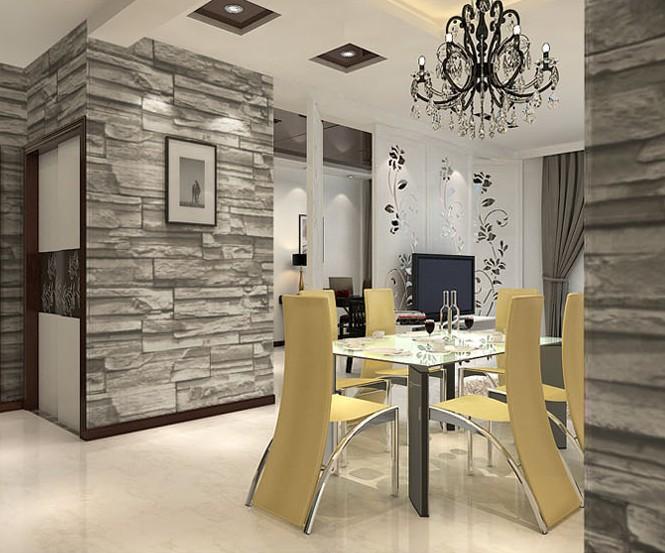 Stile cinese sala da pranzo 3d mattoni di pietra wallpaper for Carta da parati stile inglese