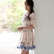 2016 new women's sweet bubble sleeve Japanese Short Sleeved Chiffon Dress(China (Mainland))