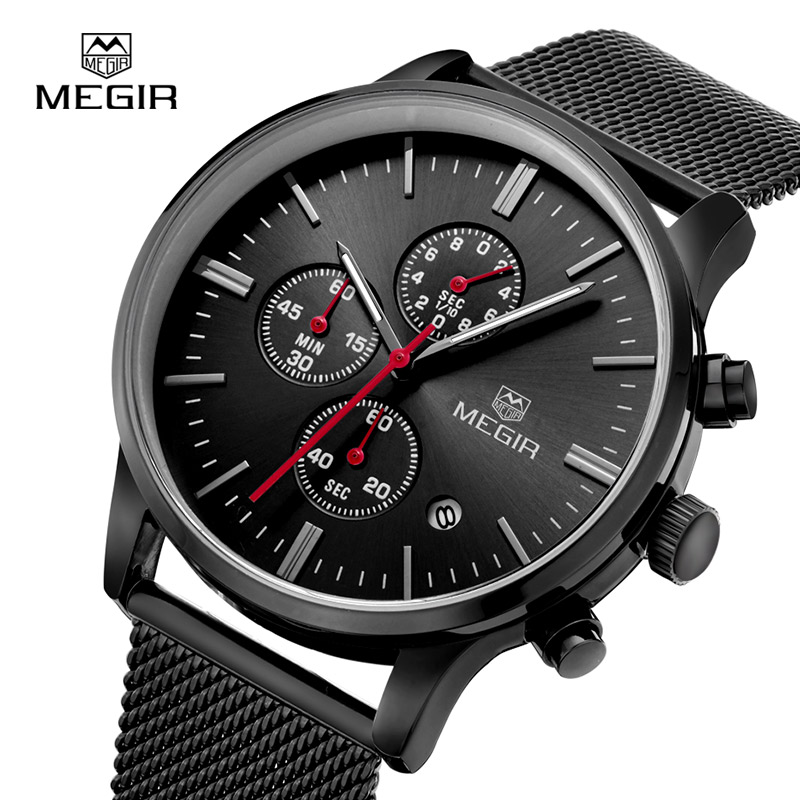 MEGIR Clock Men Waterproof Quartz Mens Watches Top Brand Luxury Casual Mesh Brand Watch Luminous Hour For Male relogio masculino(China (Mainland))