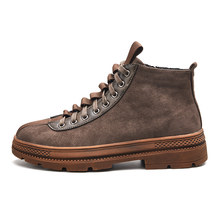 Mode Sneakers Mannen Werken Schoenen Vintage Handgemaakte Casual Schoenen Brand Hoge Kwaliteit Lace-up Trend Locomotief Schoenen Zapatos Hombre(China)