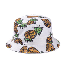 Free Shipping 2015 New Fashion Lovely Summer White Pineapple Printed Bucket Hats For Women/Girls(China (Mainland))