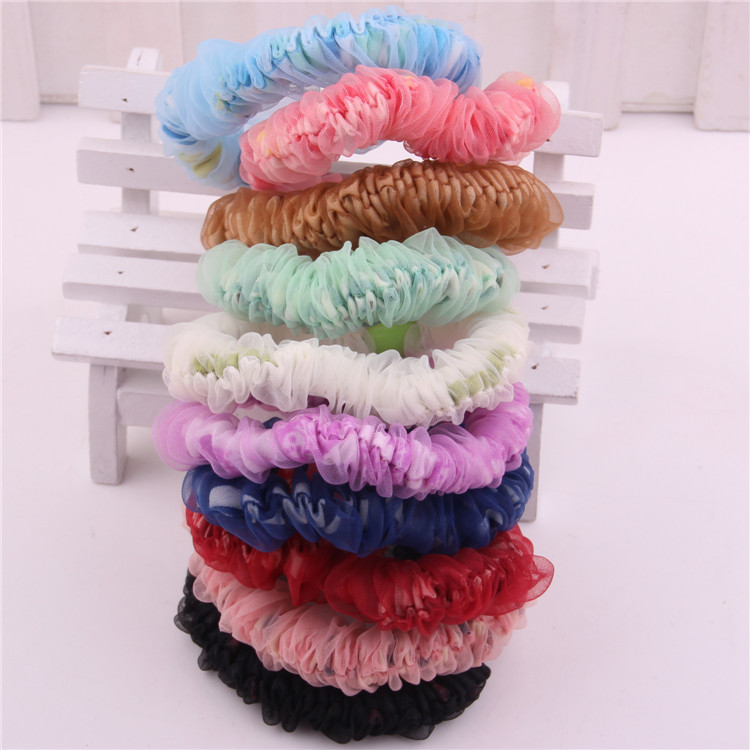 20pcs/lot New arrivals Multi colors CORE SPUN mesh hairbands printed flower fabrics hair circle for girls elastic hair bands(China (Mainland))