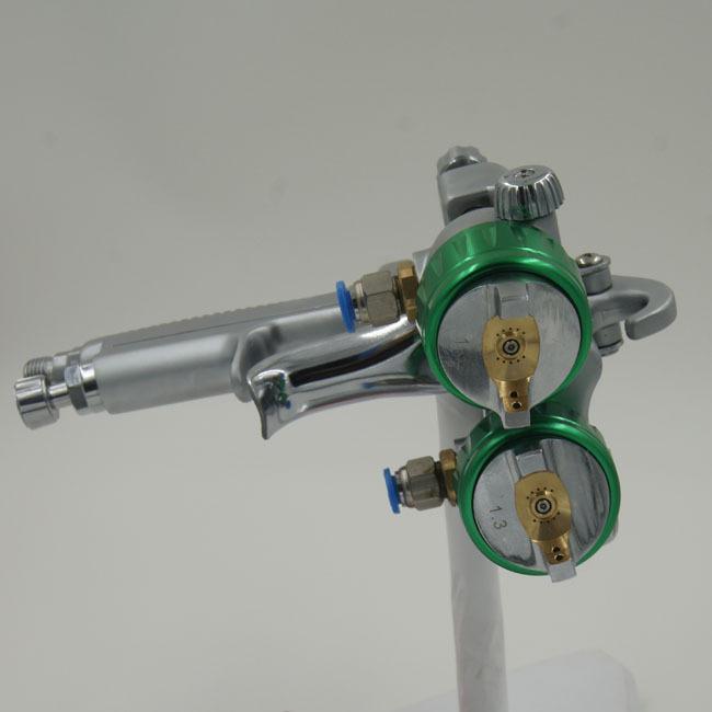 SAT1189  airbrush kit pneumatic air gun two double nozzle mirror automotive spray paint for car