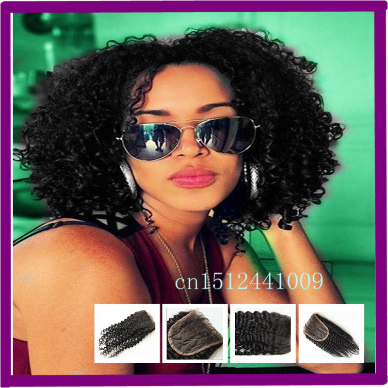 Mobb 3 Way Part Lace Closure Kinky Curly Mongolian Kinky Curly Top Piece Closure Bleached Knots #1B Unprocessed Remy Hair(China (Mainland))