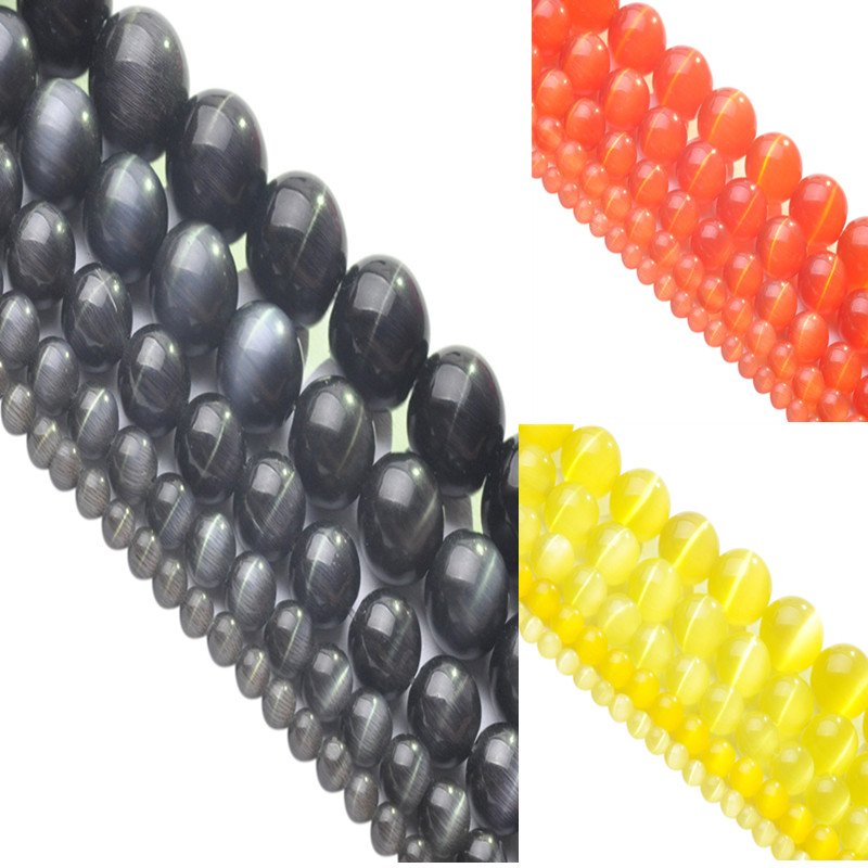 """AA+ Quality 4/6/8/10/12mm Round String Opal Loose Spacer Bead Natural Stone Cat Eye Beads 16"""" Black/Orange Red/Yellow(China (Mainland))"""