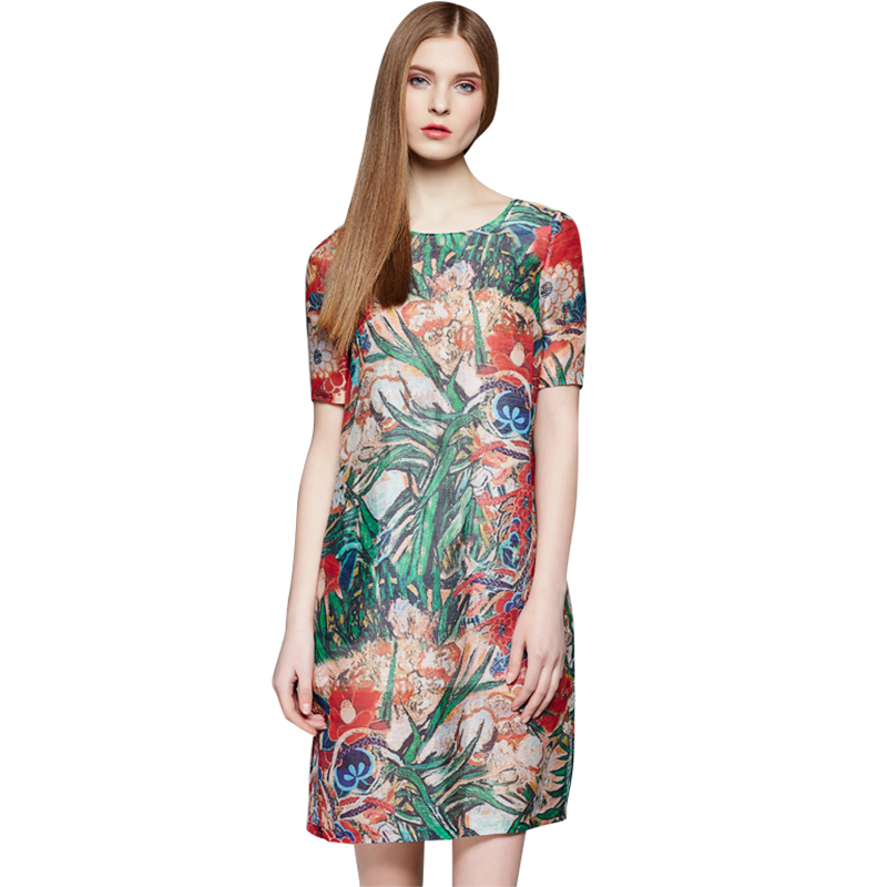 Women Fashion Print Summer Dresses 2016 Spring High-end Quality Short Sleeve O-Neck Silk Dress Loose Casual Vestidos 2219