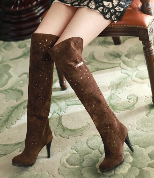 Women High Heel Over Knee Boots Riding Winter Warm Snow Botas Vintage