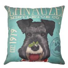 Cute Pet Dog cartoon linen square pillow case