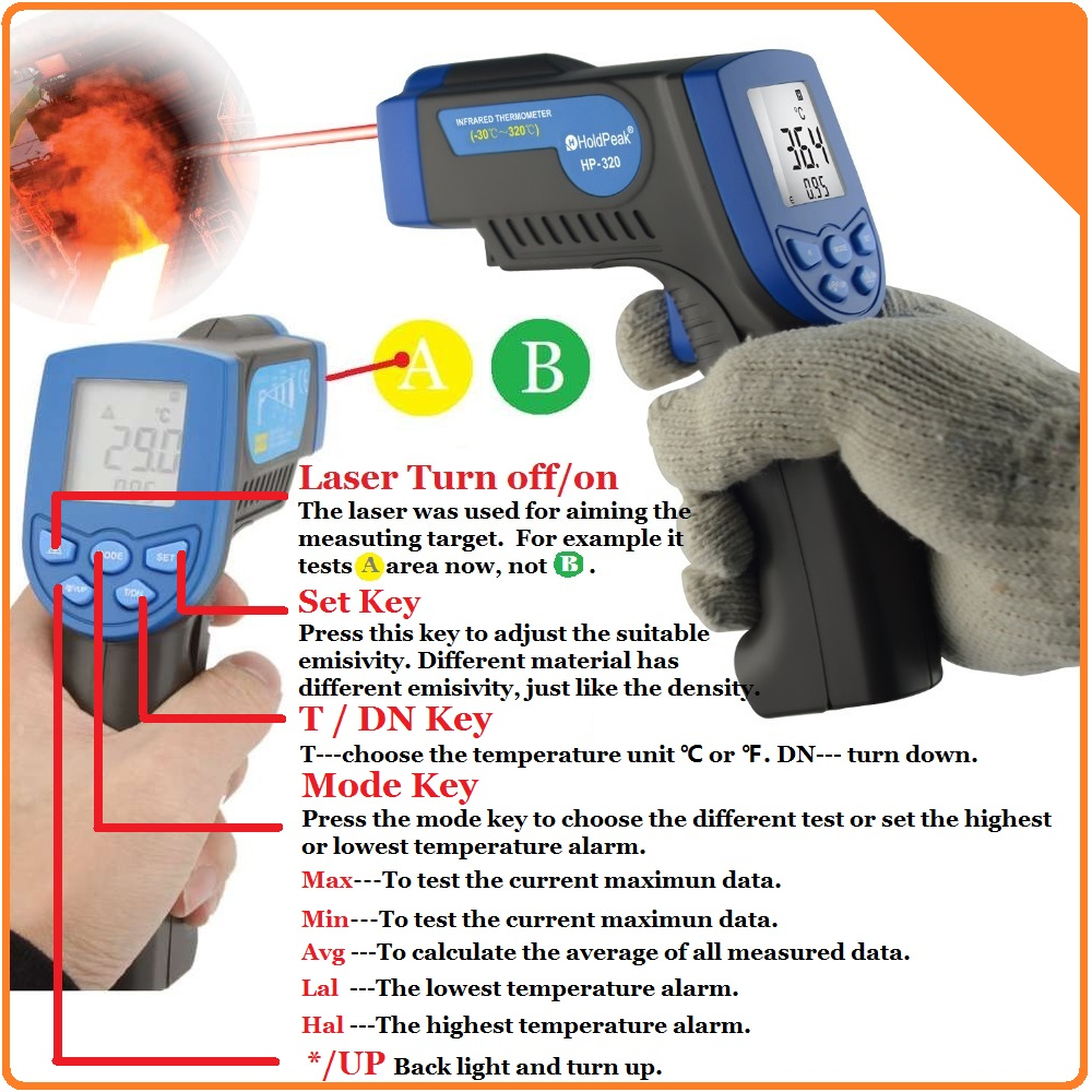 HoldPeak HP-320 Infrared Thermometer Non Contact Digital Thermometer Gun with Laser(China (Mainland))