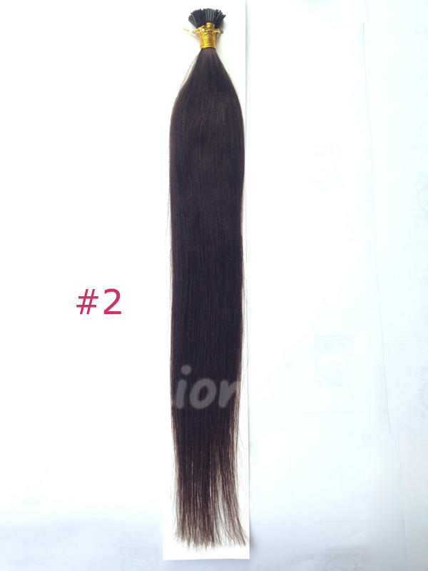 "100S Brazilian Remy Human Hair Extensions Stick I Tip Pre Bonded Fushion Hair 18"" 20"" 22"" 45cm 50cm 55cm #2 Dark Brown(China (Mainland))"