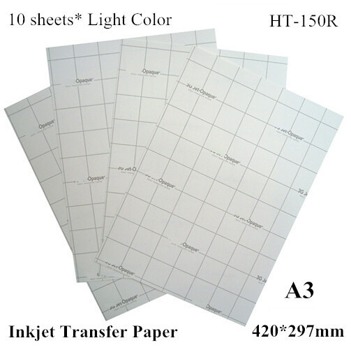 (A3*10pcs) A3 Paper Inkjet Heat Transfer Paper for Light T shirt Fabric Only Thermal Transfers Papel Printing Paper HT-150R