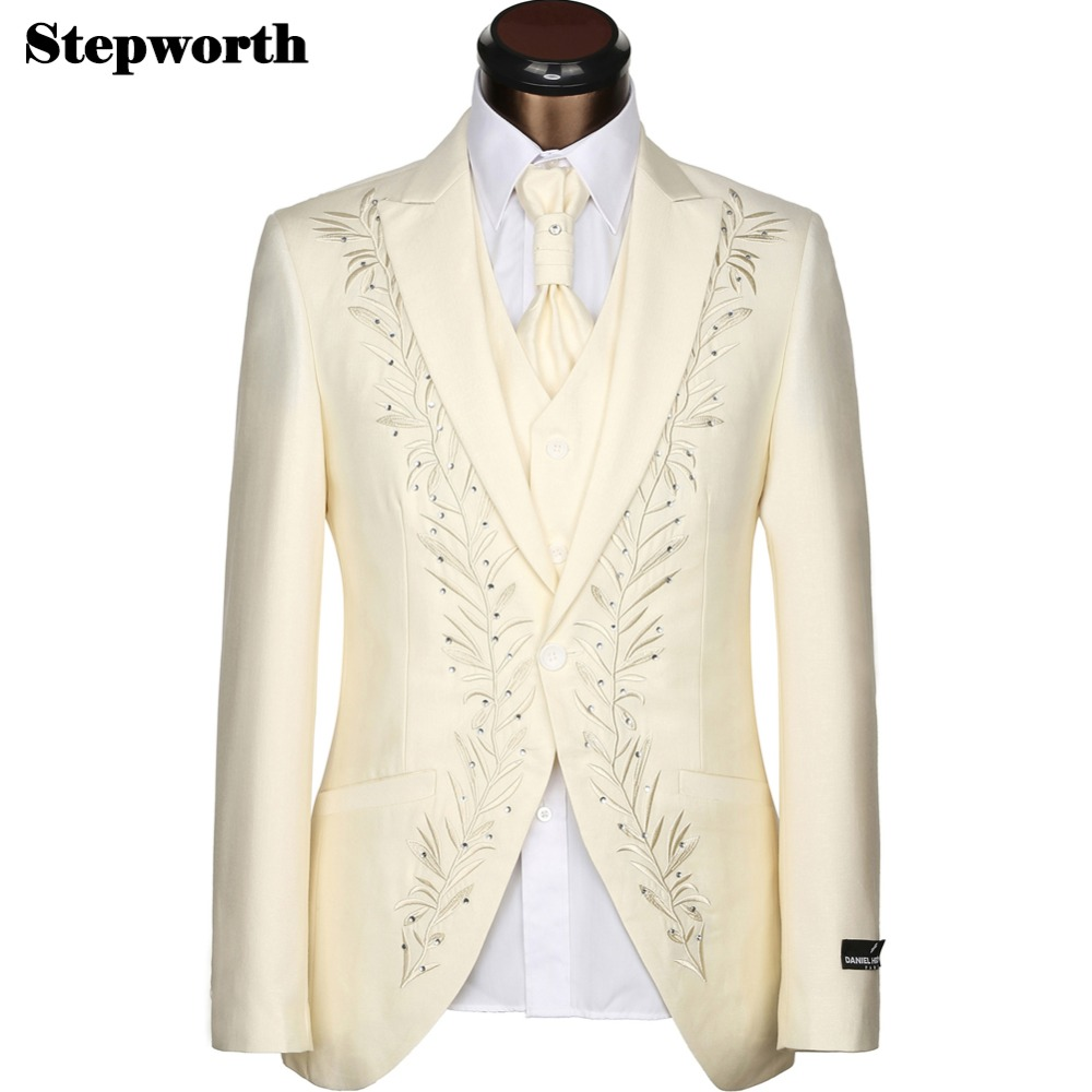Five Pcs (Jacket+Pants+Vest+Tie+Handkerchief) Wedding Bridegroom Business Suits 2015 Fashion Slim Classic Suit Hot Sale L8(China (Mainland))