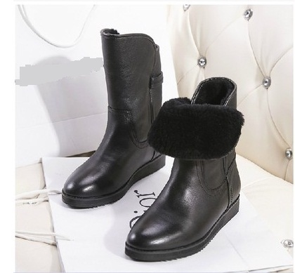 Free shipping 2014 ladies boots fashion leather warm boots(China (Mainland))