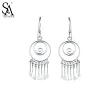 Buy Women Fine Vintage Ethnic Earrings Real 925 Sterling Silver Round Tassals Drop Dangle Earrings Women Fine Jewelry for $13.35 in AliExpress store