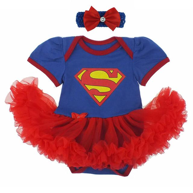 2016 Горячие Моды Ползунки Платье для Новорожденных ребенка Первое Рождество Костюмы Супермен Бэтмен День Рождения Туту Платье Bebe Платье