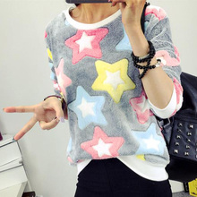 2016 Women Outwear Floral Tracksuit Sweatshirt Hoody Casual Fashion Vogue Charming Adorable Lady  Top Blouse Jumpers Pullovers(China (Mainland))