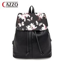 vintage cute print floral black pu leather drawstring bag pack designer bagpack women backpack school bag for teenagers girls(China (Mainland))