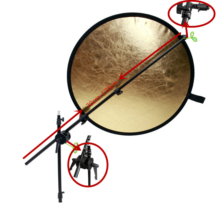 75-170cm Holding cross Arm boom stand photographic equipment Photography Studio Light Reflector plate mount Disc Grip holder(China (Mainland))