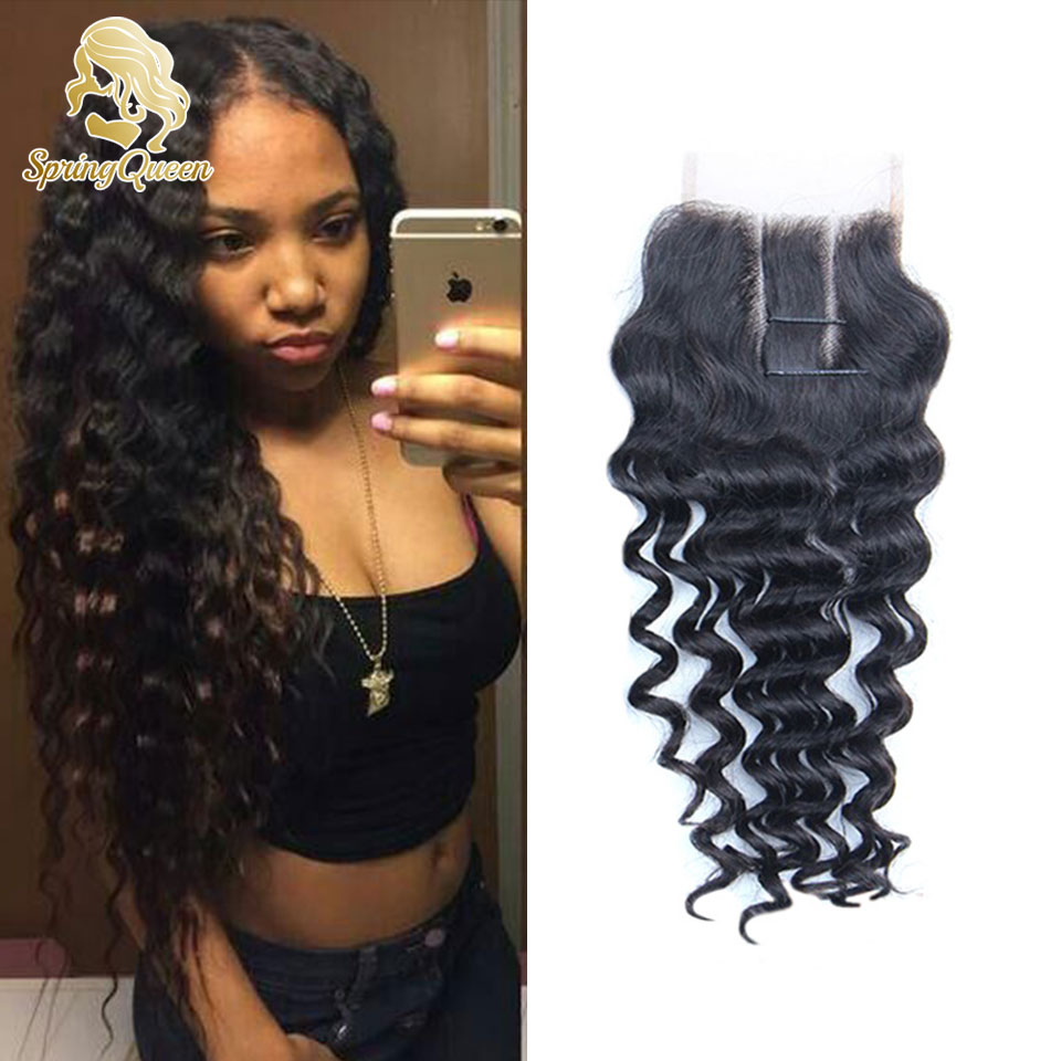 4X4 Lace Closure 7A Brazilian Curly Lace Closure Middle Three Part Loose Curly Lace Closure With Baby Hair Spring Queen Hair(China (Mainland))