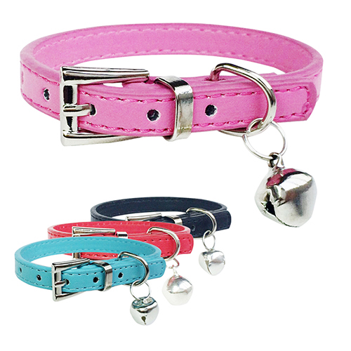 2016 Hot item! Fashion Faux Leather Pet Collar Cat Puppy Dog Bell Pendant Buckle Neck Strap(China (Mainland))