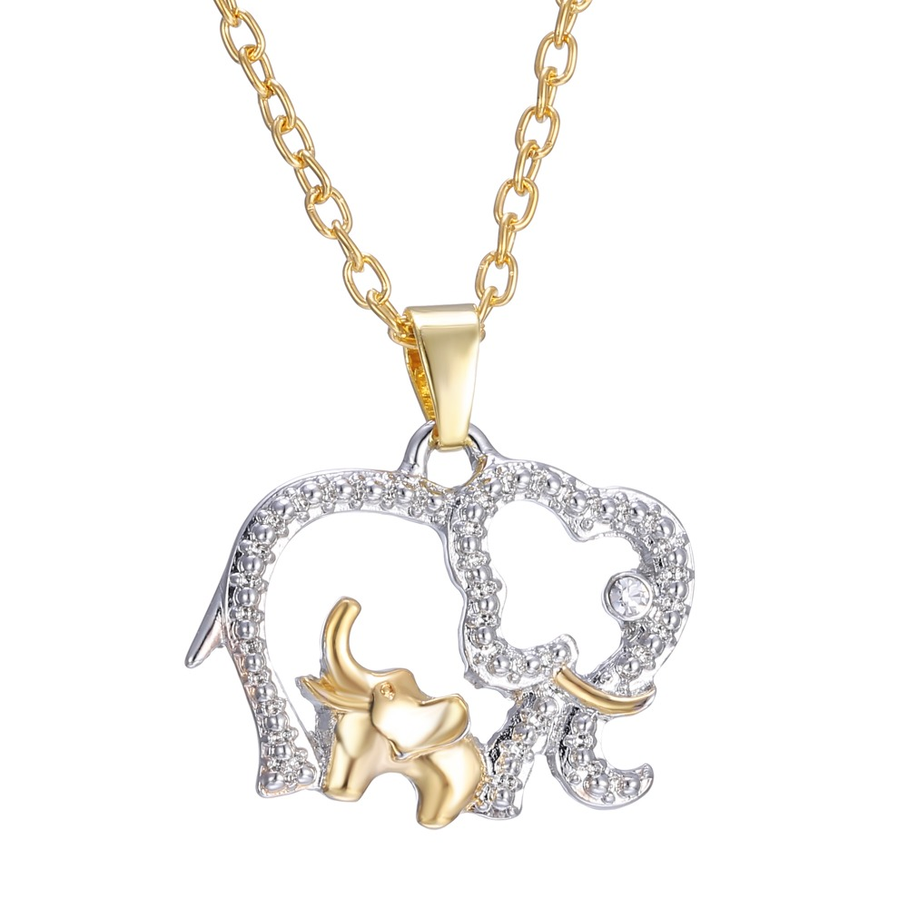Cute Design Gold Plated Chain Rhinestone Elephant Pendant Animal Necklace Fashion Jewelry For Gift