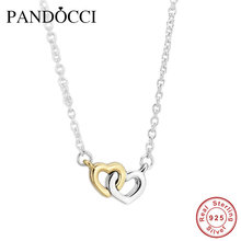 Christmas United in Love silver necklaces & pendants with 14K Real Gold Heart 925 sterling-silver-jewelry European Women Style(China (Mainland))