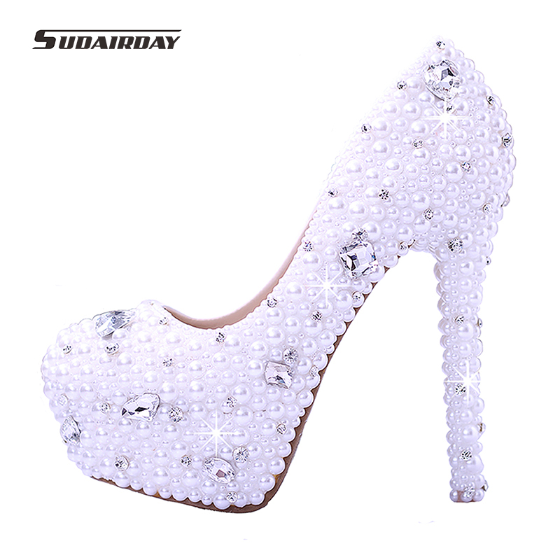 2016 New arrival Women pearl white Wedding pumps women's high heel platform wedding shoes High Heels crystal bridal shoes(China (Mainland))