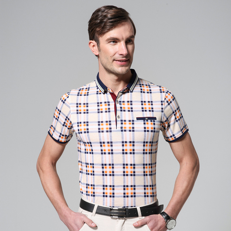 Mens designer t shirt collar striped t shirt european for European mens dress shirts