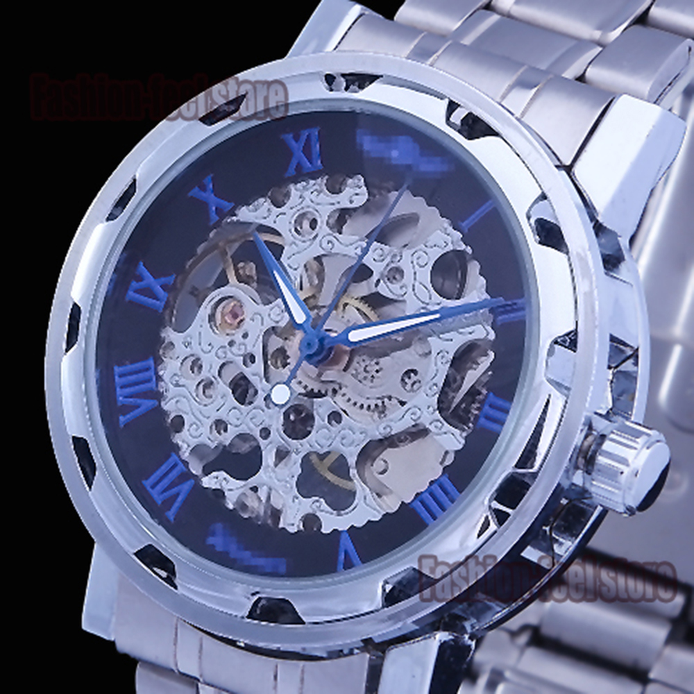 New Classic Men's Fashion Cool Dial Stainless Steel Band Skeleton Mechanical WristWatch Hand Wind Watch For Men With Gift box(China (Mainland))