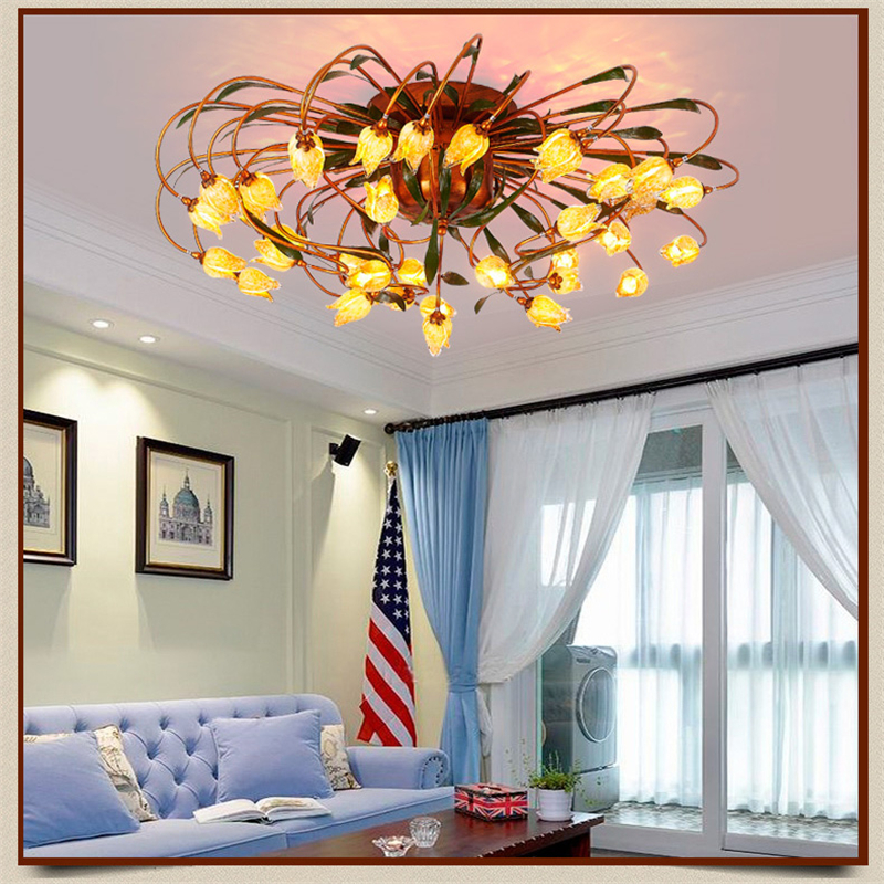 Glass flower green leaves ceiling lights american garden for Glass ceiling bedroom