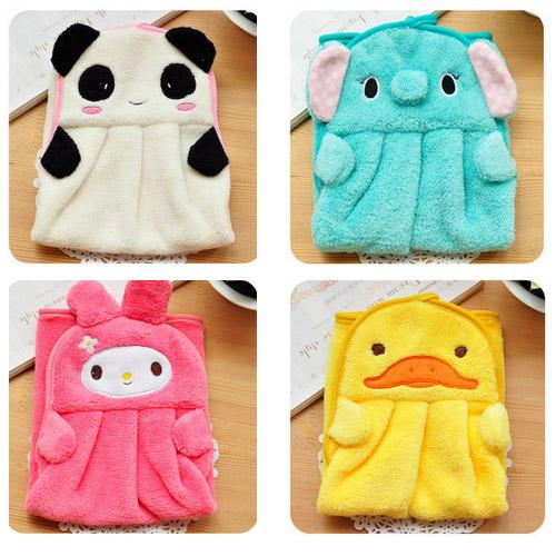 Hot selling Fashion Hand Towel Soft Plush Fabric Lovely Cartoon Animal Wipe Hanging Bathing Towel(China (Mainland))