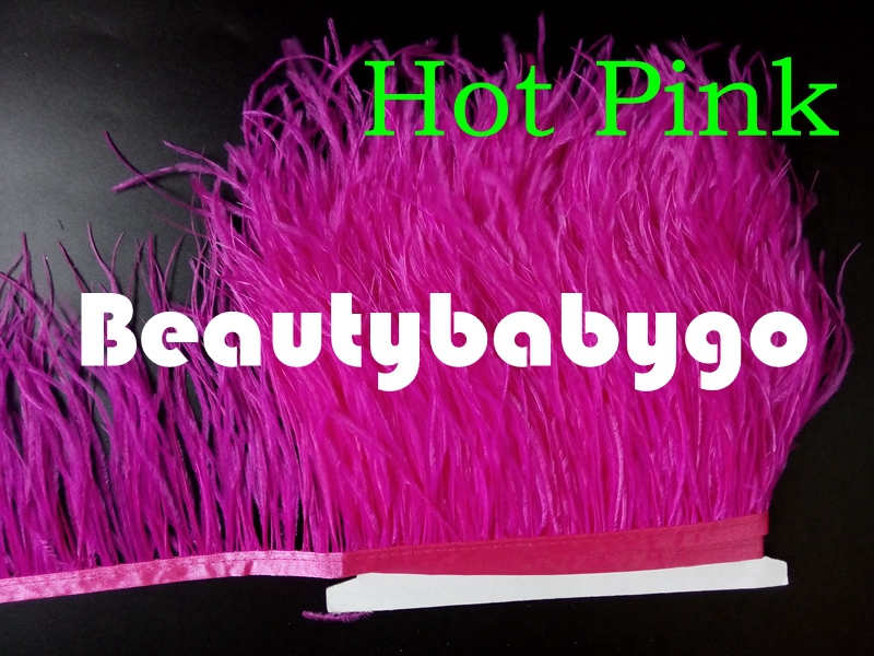 Freeshipping 10 meters Hot Pink Ostrich Feather Fringes 13-15cm/5-6 inches feather Trimming 31 color available - Beautybabygo store