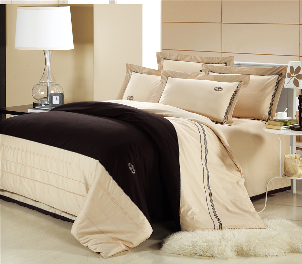 beige bedding set cotton duvet cover flat sheet pillowcase bed linen