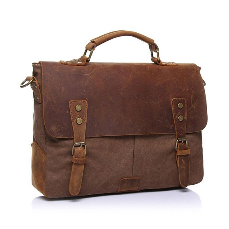 Designer Brand Men Vintage Handled Canvas Leather Bags Men's Crossbody Shoulder Messenger Bag Briefcase Notebook Pocket Inside(China (Mainland))