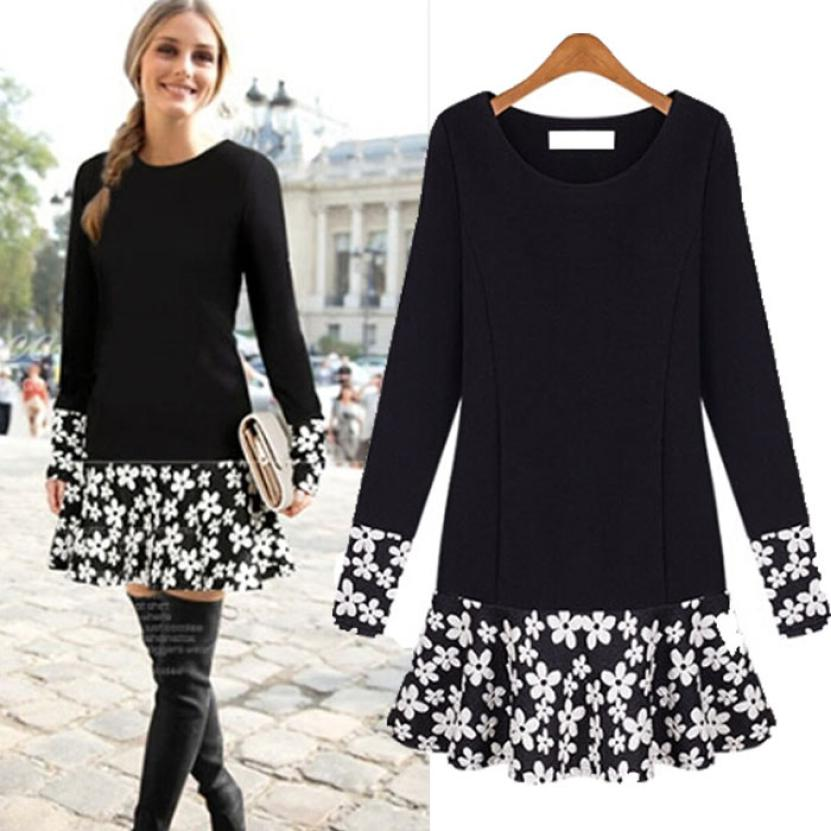 4XL Warm Spring Women Blouse Long Sleeves Casual Dress Awesome Tops Patchwork Floral Camisas Femininas Plus Size High Quality(China (Mainland))