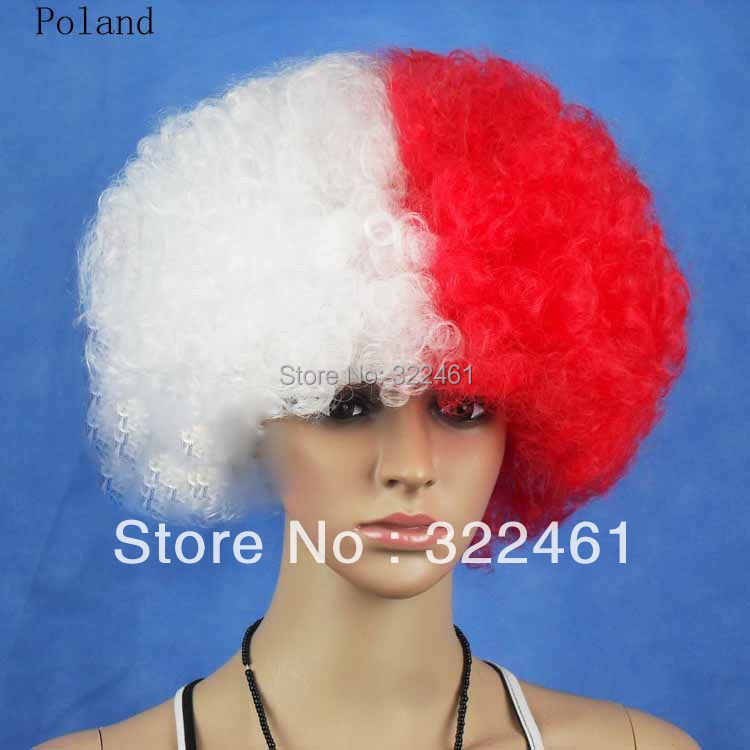 Football Fan Wigs Free Shipping 5pcs/lot synthetic perucas party wigs ,Poland national flag wigs,halloween cosplay/bob wigs(China (Mainland))