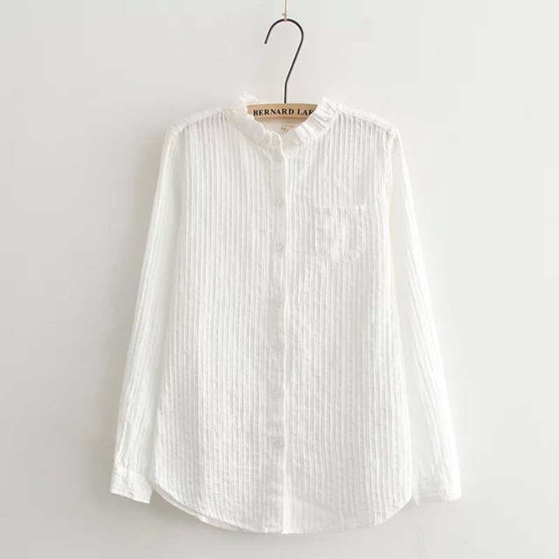 Korean pure white simple design with pocket long sleeve cotton line woman thin clothes 2015 tops hot spring autumn blouse(China (Mainland))