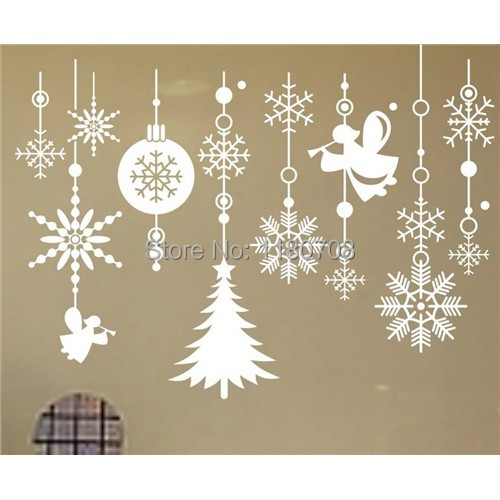 Removable White Christmas Snowflakes Ornaments Window Decals Wall Sticker(China (Mainland))