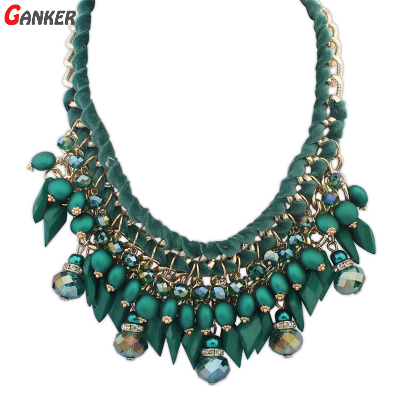 2016 New Women Fashion Boho Necklace Water Drop Multicolor Weave Short Rope Chain Maxi Necklace Statement Necklace Collier Femme(China (Mainland))