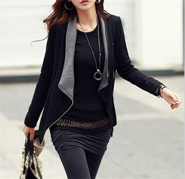 Hot Sale 2015 Women Coat New Fashion Korean Style Slim Turn-Down Collar Side Open Stich Zipper Women Jacket WWJ379(China (Mainland))