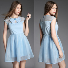 2015 Summer Summer DRESS Fashion Clothing O-Neck Bow Beaded slim Grid One-piece dress Blue Dresses Summer Style Women