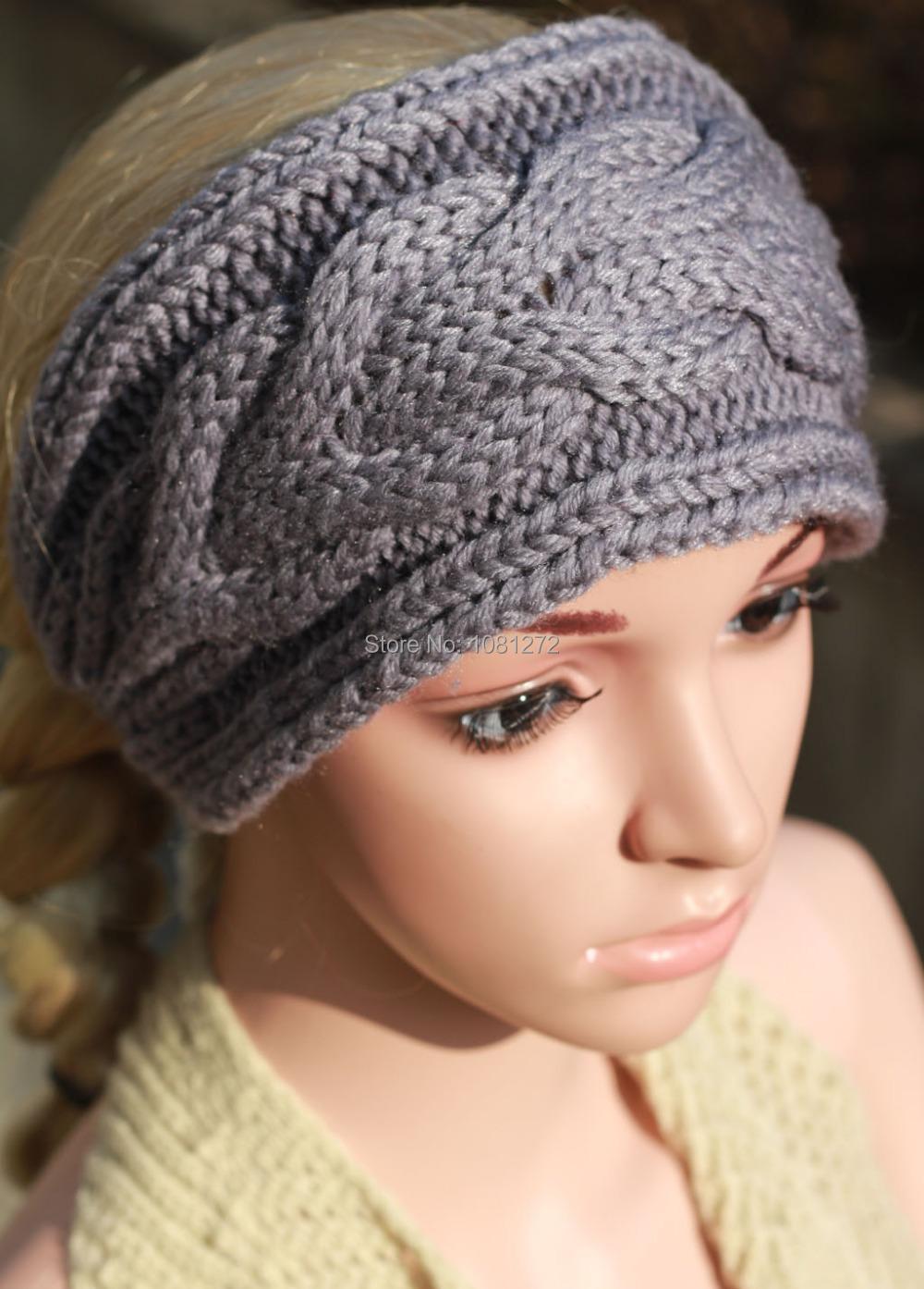 Headband Head Wrap Knitting Pattern : Light Gray Knit Headband,Cute Turban Headband,Earwarmer ...