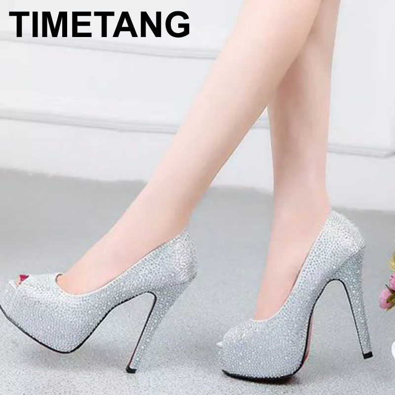 new arrival fashion women shoes rhinestone red bottom high heel wedding shoes woman crystal banquet bridal shoes height: 11CM(China (Mainland))