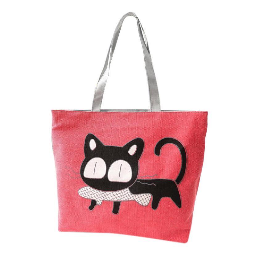 2016 Famous Brand Women Handbag Fashion Female Cat Ladies Large Clutch Bag Woman Canvas Casual Handbags Shoulder Tote Bag Bolsos(China (Mainland))