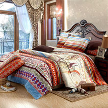 100% Cotton ethnic style bedding sets 4pcs duvet cover set without comforter,for single double bed sheets pillowcases bed set(China (Mainland))